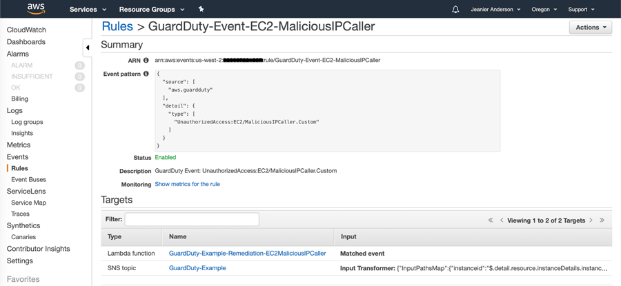 CloudWatch Event rule triggers an SNS topic and a Lambda function